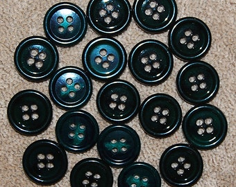 Vintage 18 Dark Green and Black Marbled 15.5mm Buttons N4R