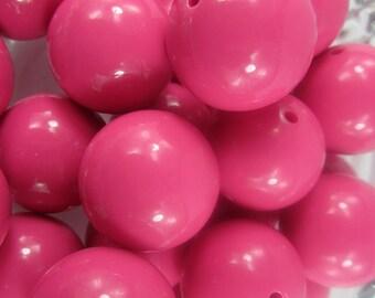 VINTAGE 24 Hot Pink Lucite Beads 14MM   GR1