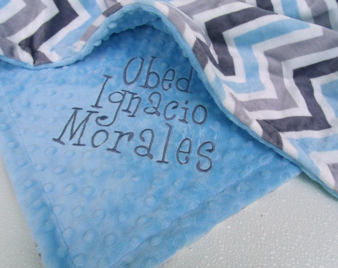 Gray and Blue Minky Chevron Baby Blanket with Baby Blue Dot Minky Back Can Be Personalized