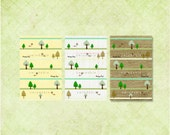 Digital Prints of 3 ZAKKA Linen Styled Forest Backgrounds for Cards, Tags, Scrapbooking, Collage, Stickers, Namecards