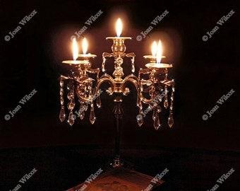 Goth Skull Candlelight Crystal & Silver Candelabra Skullabra Candle Flames Original Fine Art Photography Print