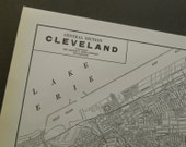 Vintage Cleveland Ohio street map, 1938 city map