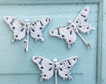 Cast Iron Butterfly Hook , Kitchen Hook, Cottage Home, Pure White, Garden Decor, Gift