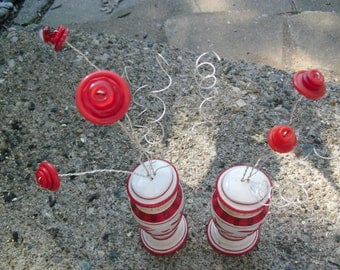 Red and White Salt and Pepper Shaker Button Bouquet