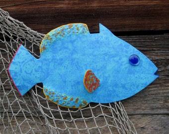 Metal Art Wall Sculpture Tropical Fish Beach House Coastal Wall Decor Recycled Metal Marine Art Island Blue Hawaii   6 x 11