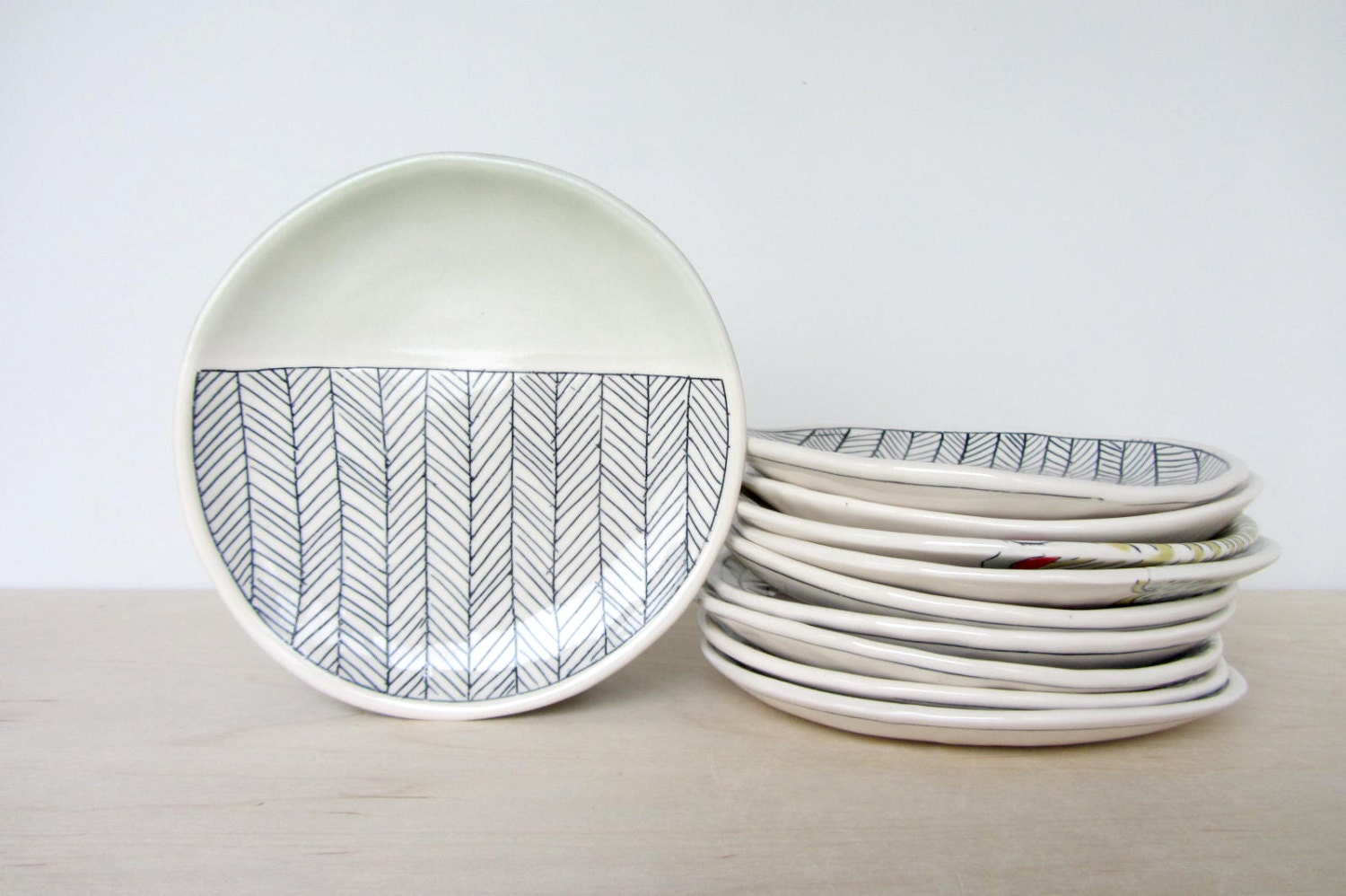 Ceramic herringbone patterned canape plate with sage green for What is a canape plate used for