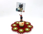 Mini Christmas Penny Rug with Resin Snowman Photo Holder