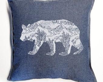 CALifornia BEAR Denim Blue Eco Throw Pillow Cover 20x20