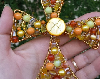 Beaded wall cross - made to order crosses - wedding gift - baptism gifts - Christian home decor - wire cross - cross suncatcher - Easter