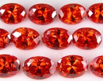 Super fiery ORANGE CZs ~ 8x6mm Oval ~  item# ORCZ1 ~ Cubic Zirconia ~ FDK