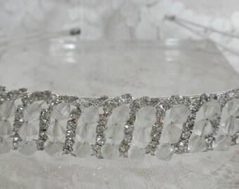 Rhinestone and Clear Beaded Headband