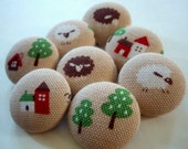 LAST SETS - Little Lambs Fabric-Covered Buttons - Sheep Buttons - Fabric Covered Buttons - Farm and Barn Animals - Fiber Animals
