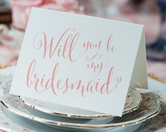 Calligraphy Will You Be My Bridesmaid Card