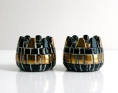 Mid Century Modern Geometric Black and Gold Ceramic Candle Holders