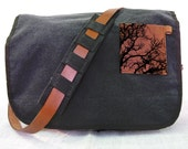 black canvas messenger bag with leather accents - tree bag