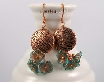Rustic copper flower earrings, turquoise green Czech glass flowers and textured copper bead dangles on copper wire