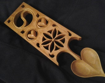 Welsh Love Spoon Hand Carved Taijitu Lovespoon Wooden Spoon Wedding Gift Anniversary Gift Folk Art Ooak Romantic Gift Valentines Day Gift