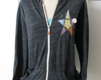 Black Light Weight Jacket, Hooded Full-zip , Hoodie, Alternative Apparel, Sportswear,  Star Appliqué