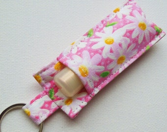Chapstick Keychain,Lip Balm Key chain,Chapstick Holder,chapstick cozy keychain,Lipbalm cover pouch,chaps tick lipstick cozy-Pink Daisy