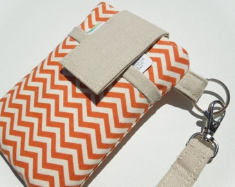 Smartphone sleeve cover,Samsung Galaxy S5,S6/Note 4,iPhone 5/5S/C,6/6 plus,HTC one,LG G3/G4,Moto G/X,WRISTLET Cellphone Cover-Orange Chevron