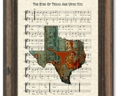 Texas Longhorns Art Print, UT Fight Song, Texas Map Print, The Eyes Of Texas Are Upon You, Sheet Music, Art Print
