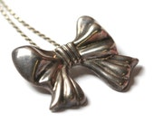 I'm Your Present Bow Necklace, Vintage Sterling Silver Bow Pendant Chain Necklace, Sterling Bow, Silver Interchangeable Pendant Brooch 33.5g