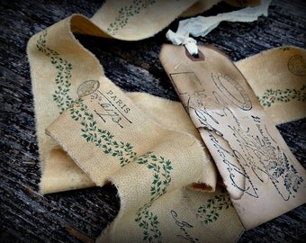 Softly Distressed Old Marigold Yellow Handmade Ribbon with French Stampage