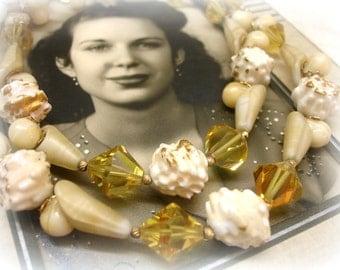Vintage Double Strand VENDOME Necklace RARE Collectible Cream and Yellow Designer Necklace