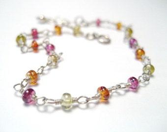 Colourful Sapphire Gemstone Bead Sterling Silver Bracelet