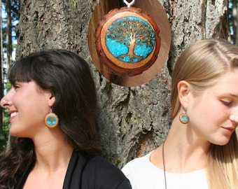 Wood Tree of Life Earrings- Trees with inlay Turquoise- In reclaimed Sassafras Wood (MOD 7)