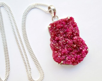 Druzy Crystal Necklace Long Druzy Cluster Hot Pink Raspberry Ruby Druzy  Necklace Mineral Jewelry