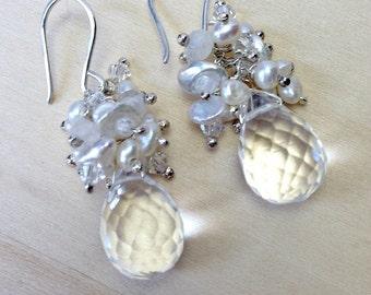 Wedding Earrings, Clear Crystal and Pearl Cluster Earrings, Sterling Silver Wire Wrap, Bridal Earrings, Keishi Pearl Cluster, Beach Wedding