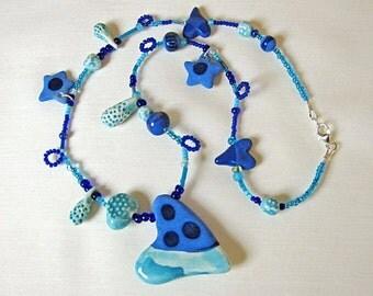 Blue Sweetheart Necklace Handmade Beads