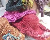 Floppy Open Weave Crocheted Summer Hat