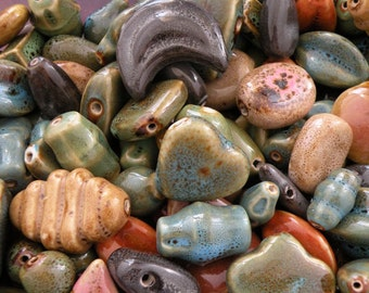 Free Ship! 25 pc Lot Glazed Porcelain Beads M-XL 18mm to 36mm Assorted Ceramic Focals