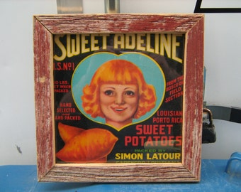 1930-40s barn wood sweet Adeline Louisiana sweet potatoes crate label
