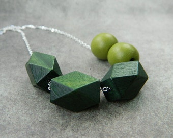 Geometric Wood Green Necklace. Bib Necklace. Green Olive Rustic Tribal Indian Boho Necklace. Cubes Jewelry Necklace Forest Wood Necklace