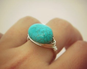 Turquoise Ring, Turquoise Stone Silver Blue Ocean Ring, Oval Gemstone Turquoise Ring, Cocktail Turquosie Fashion, Jewelry Rings, To Order