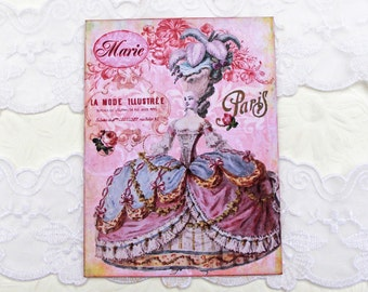 Marie Antoinette, Note cards, Blank Note cards, Birthday, Paris Vintage, French Cottage,Shabby,Pink, High Tea Party, Handmade, Australia