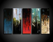 Abstract Painting - Large Painting - Original Painting - 5 Piece - 30 x 50 - Art - Artwork - Modern Painting - Red Olive Green Blue