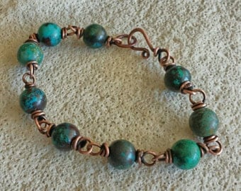 Chunky Bracelet in Pure Copper and Genuine Turquoise - Rich Texture and Color- Handmade