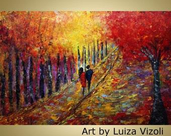 Original Abstract Modern Painting Landscape Romance Oil Park Autumn Trees on Large Canvas by Luiza Vizoli 36x24