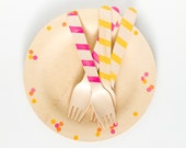 "Wooden Plates With Polka Dots - 10 Plates - 7"" Dessert/Appetizer Size or 9"""