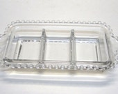 Candlewick Glass Crystal 3Pt Rectangular Crudite Relish Dish by Imperial Glass