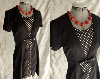 80s Dress // Vintage 1980s Black Dress with Black and White Polka Dot Insets and Bow by Scarlett Size M 28 waist
