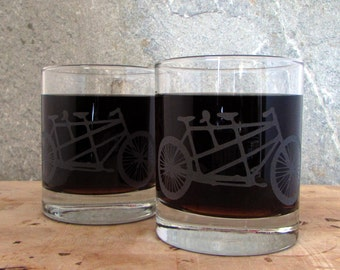 Two Seater Bike | Etched Old Fashioned Cocktail Glass