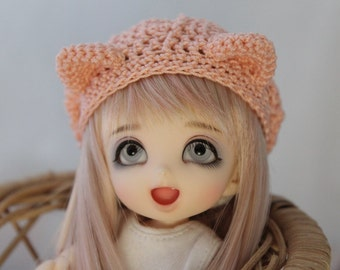 Kitty Ear Beret for Pukifee or Lati BJD, Custom Slouch Hat, You Pick Color