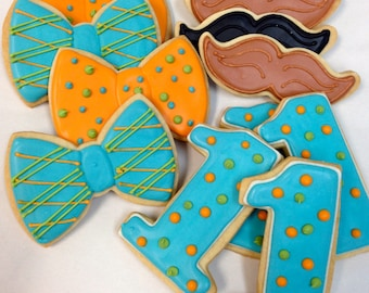 MUSTACHE BOWTIE COOKIES, 12 Decorated Sugar Cookies