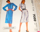 McCalls 7059 - Charlotte Ford Design Classic Button Front Dress with collar (Shirt Style).  Size 10, bust 32 1/2