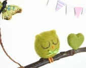 Felt Baby Mobile, green needle felted owl sitting on a natural branch perch, butterfly